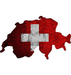 Switzerland map with flag inside vector