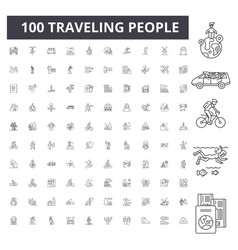 Traveling people line icons signs set vector