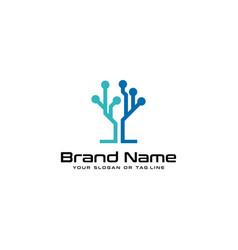 Tree tech logo design vector