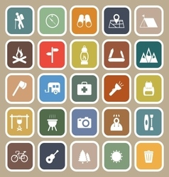 Trekking flat icons on brown background vector
