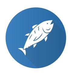 tuna blue flat design long shadow glyph icon vector image