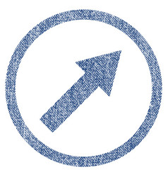 Up-right rounded arrow fabric textured icon vector