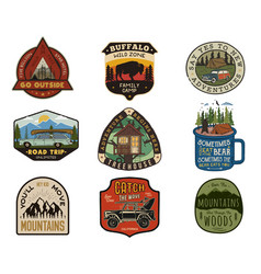 vintage travel logos patches set hand drawn vector image
