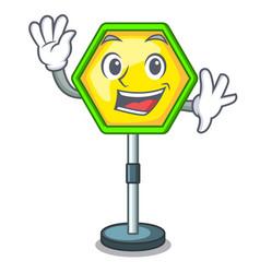 waving cartoon traffic sign on traffic road vector image