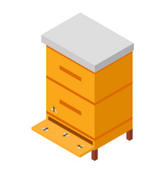 Wooden hive icon isometric style vector