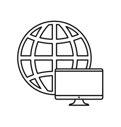world computer on white background vector image