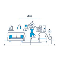 Yoga interior of room furniture for relaxing vector