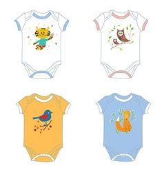 Baby garments t-shirts with animals print vector image