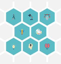 Flat icons bulb artist wings and other vector