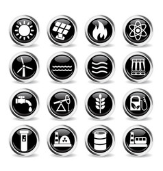 Fuel and power icon set vector