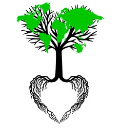 heart tree with green world map vector image vector image