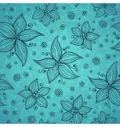 Blue line drawn flowers seamless pattern vector image