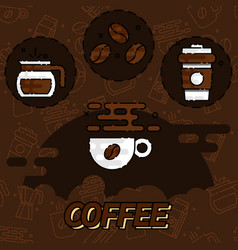 coffee flat concept icons vector image vector image