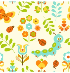 Seamless Pattern with Cute Caterpillar vector image
