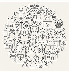 Christmas new year holiday line icons set circular vector