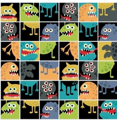 Cute monsters seamless texture with windows vector image