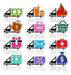 Delivery truck flat icons set vector image
