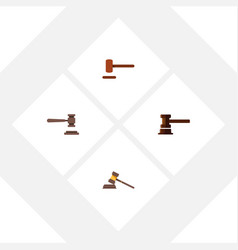 Flat icon hammer set of government building legal vector