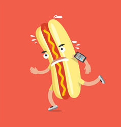 Hot dog on the run with smartphone health concept vector