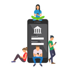 mobile banking concept of people vector image vector image