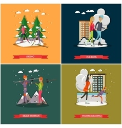 set of winter sports and recreation concept vector image vector image