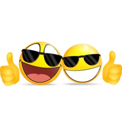 Emoticon Wearing Glasses with Thumb vector image