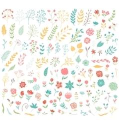 Floral hand drawn vintage set vector image