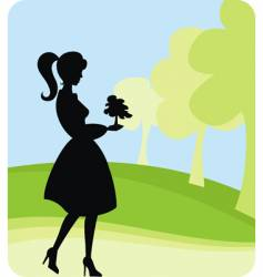 girl planting tree vector image vector image