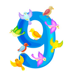 ordinal numbers 9 for teaching children counting vector image