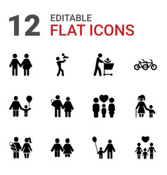 12 father icons vector image