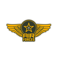 Air forces patch icon of wings shield and star vector