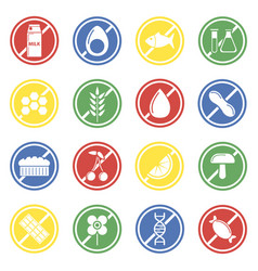 Allergen labels colorful set isolated vector
