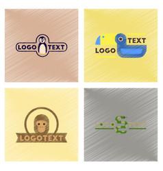 Assembly flat shading style icons logo penguin vector