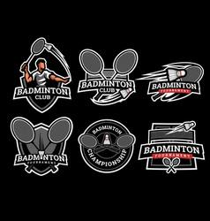 Badminton logo and badge set image vector
