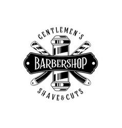 barber shop vintage label badge or emblem on vector image