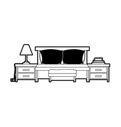 bed with nightstand black color section silhouette vector image