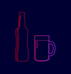 beer bottle sign line icon with gradient vector image