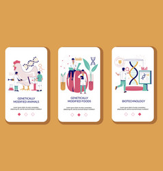 biotechnology mobile app onboarding screens vector image
