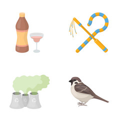 Bird alcohol and other web icon in cartoon style vector