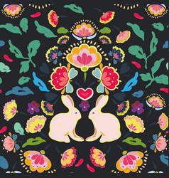 black folk art pattern with bunny vector image