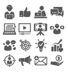 blogger icons set on white background vector image