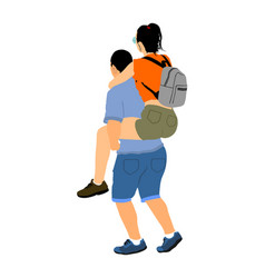 boy carrying girl on back couple in love vector image
