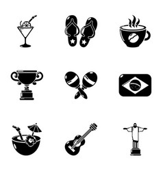 brazil leisure icons set simple style vector image