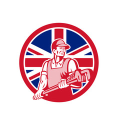 british plumber and gasfitter union jack icon vector image