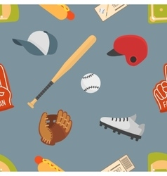 Cartoon baseball seamless pattern vector image