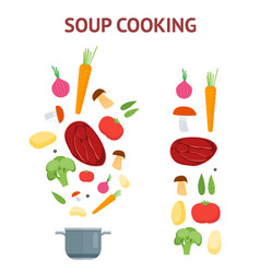 cartoon dish and ingredients set cooking soup vector image