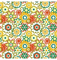cartoon floral seamless pattern vector image