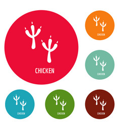 Chicken step icons circle set vector