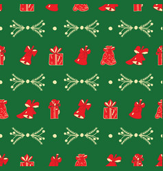 christmas bells gifts branches green pattern vector image