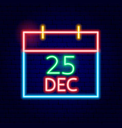 christmas calendar neon sign vector image